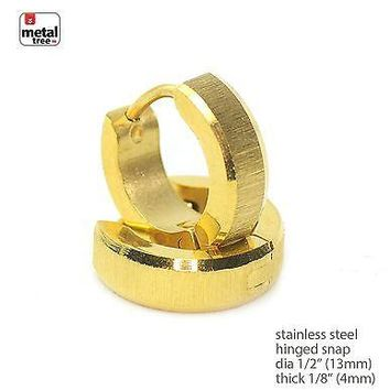 Jewelry Kay style DJ Fashion RApper Stainless Steel Huggie Hoop Hinged Snap Earrings SSHE 029 G