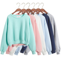 2016 Korean Autumn Streetwear Sweet Macarons Kpop Women Hoodies Sweatshirts Cashmere Tracksuits Cropped Hoodie Crop Tops 6 Color