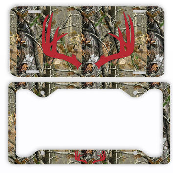 Red Antlers Camo Deer License Plate Frame Car Tag Country Hunting