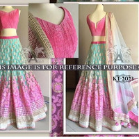 Light Green and Pink Net Bollywood Replica Lengha