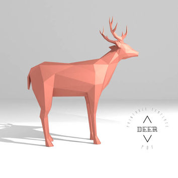 Printable DIY template (PDF).  Deer low poly paper model. 3D paper trophy. Origami.