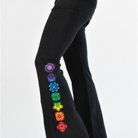 Chakra Gathered Waist Fold-over Womens Black Yoga Pants by Jala