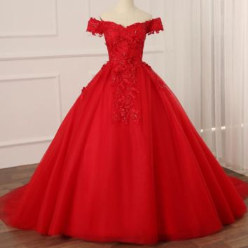 Vintage Red Wedding Dresses Sweep Train Off The Shoulder Sequined Ball Gown
