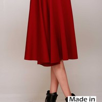 Career Women Solid Plain A-Line Pleated Flare Bottom Midi Knee Length Skirt