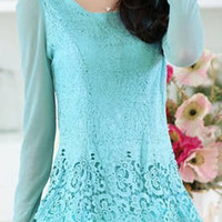 Light Blue Long Sleeve Lace Blouse