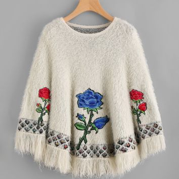 Embroidered Flower Applique Fringe Trim Fuzzy Poncho Jumper