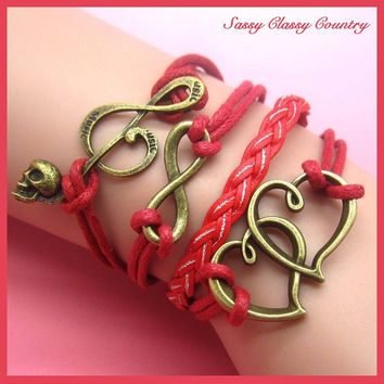 Women's Multilayered Red Braid 4 layers Double Hearts, Music Note skull & Infinity symbol bronze Charms Friendship Wrap Bracelet ~USA Seller
