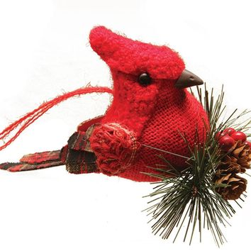 "6.25"" Red Burlap and Plaid Cardinal on Pine Sprig Christmas Ornament"