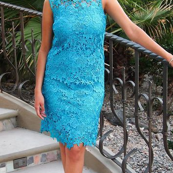 Enchanted Evening Teal Blue Illusion Lace Dress