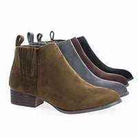 Gogo1 Women's Chelsea Ankle Boots Bootie w Elastic & Pull Tab on Stack Heel