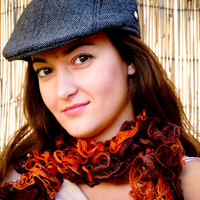 Boho Chic Rust ruffle scarf Tangerine brown colors by Mashacrochet