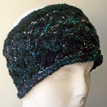 Wide Headband, Alpaca Silk Bamboo Earwarmer, Black Blue Green, Art Yarn Hairband, Handspun Headband, Designer Yarn Headband, OOAK Headwarmer