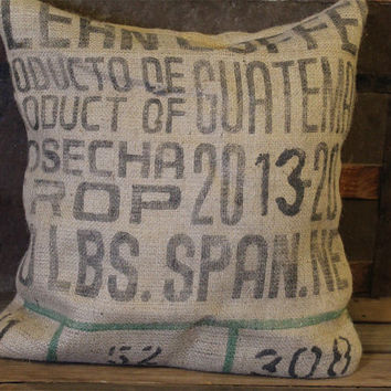 Feed Sack Pillow Cover Case- Coffee Sack- Gunny- Farm- Grain- Upcycled- Burlap- Rustic- Farmhouse- Home Decor- Decorative Throw Pillow