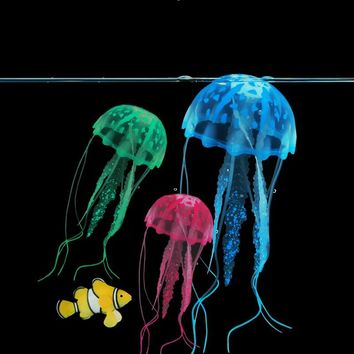 Glowing Effect Artificial Jellyfish Aquarium Decoration Submarine Ornament