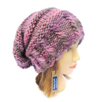 Slouchy beanie hat pink and purple slouch hats for women - funky knit hat - fun multi-color hat - pretty hat for women - warm winter beanie