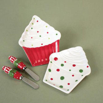 8 Plates And Spreaders - Christmas Cupcake Motif
