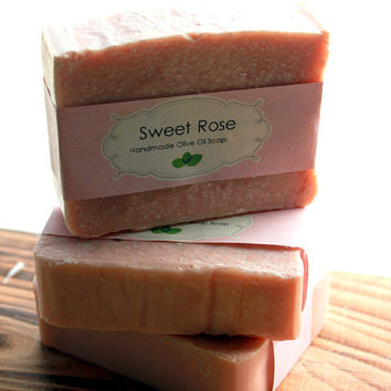 Sweet Rose - Olive Oil Cold Process Soap- Fresh Roses, Tonka bean and Jasmine Tea