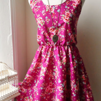 Floral Dress / Dark Pink Rose Floral Dress / English Rose Dress
