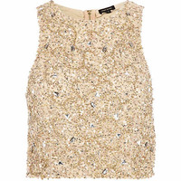 Beige embellished racer front crop top