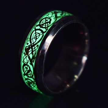 Fashion Steel Luminous Glowing Dragon Rings for Women jewelry Cute Stainless Steel Rings Wedding Engagement Rings Accessories