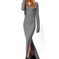 Grey Maxi Dress with Thigh Split