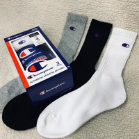 """Champion"" Unisex Couple Vintage All-match Simple Small Logo Knit Semi-High Short Socks 3 Pairs Set"