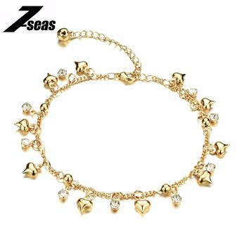 Romantic Heart Design Woman Jewelry Anklets Luxury Gold Color Cubic Zirconia Women Ankle Bracelet pulseras tobilleras,JM736