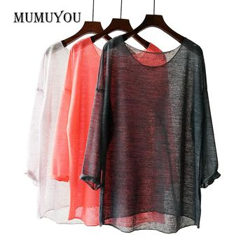 Women Transparent Blouse Shirt Linen Cotton Loose Knitted Ladies Tops Long Sleeve Blouses Asymmetric Semi See Through 906-549