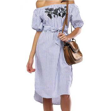 Summer Womens Fashion  Stripe Clothing Simple Style  Casual  Sleeve Off Shoulder Loose Chiffon Flower Pattern Dress