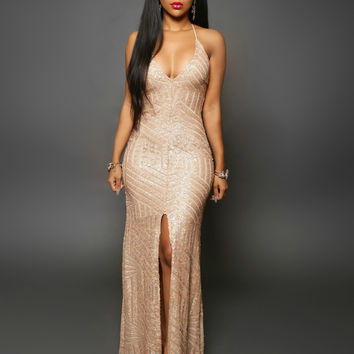 Plunging Sequined Front Slit Evening Dress