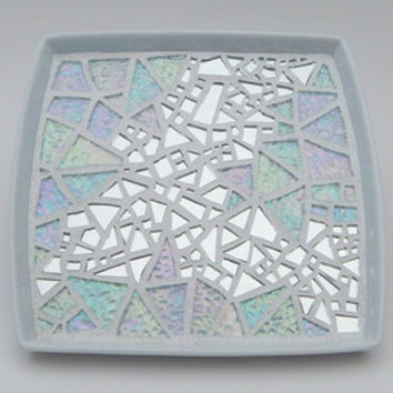 "Mosaic Decorative Plate, ""Dove in Flight"", Abstract Art, Silver Mirror + Iridescent Glasss, 7x7 White Square Ceramic Handmade Mosaic Platter"