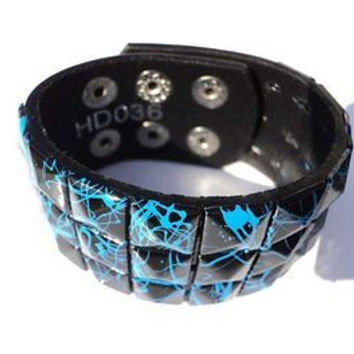 Black with Blue Crack line Checkered Studded Black Leather Bracelet-Brand New!