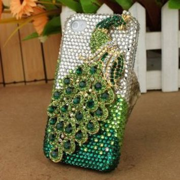 Leegoal 3D Green Peacock Crystal Case for Apple iPhone 4/4S