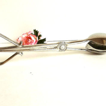 Vintage silver salad tongs, silver plate serving utensil, large salad tongs, scissor tongs, spoon, fork, spork, shabby cottage chic decor