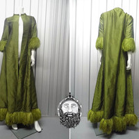 Vintage 60s BELLVILLE Et Cie Green Ostrich Feather Opera Coat Maxi Coat Evening Jacket Bellville Sassoon 1930s Clothing 30s Art Deco Couture