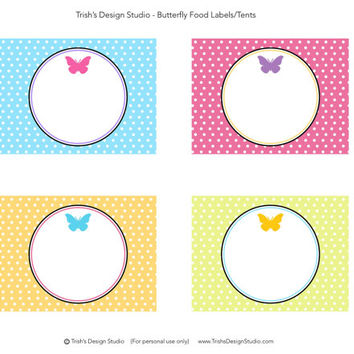 Butterfly Party Blank Food Labels: INSTANT DOWNLOAD