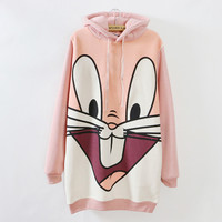 Plus Size Women's Warm hoodie with Bunny Ears, High Quality