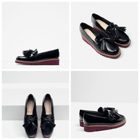 England Style  Anti-skid Tassels Zara Shoes Wedges  [4918349508]