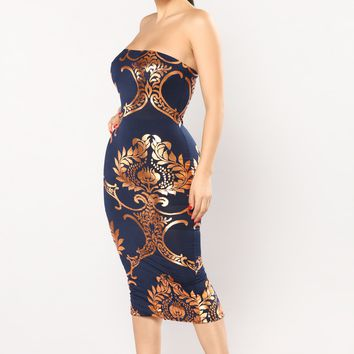 This One's For You Midi Dress - Navy
