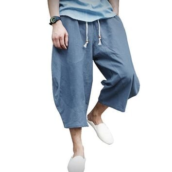 Summer Men Loose Casual Pants Cotton Linen Comfortable Thin Section of Pure Chinese Style Wide Leg Harlam Pants