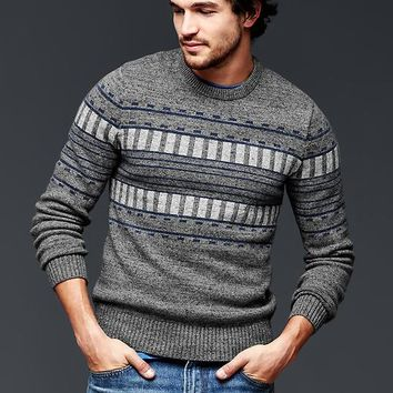 Gap Men Geo Pattern Crew Sweater