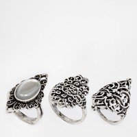 ASOS Pack of 3 Etched Burnished Rings