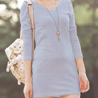 Long Sleeve Gray V-Neck Mini Dress