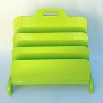 Desk Office File Organizer Mail Sorter Letter Holder Lime Green Decor Inbox Slot Desktop Shelf Filing System Home Business Files Rustic Wood
