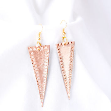 Handmade metallic gold leather earrings with or without hand tooled design, geometric earrings, triangle earrings, accessory, jewelry