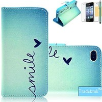 iPhone 4 Case, iPhone 4S Case Tradekmk(TM) Printed Series Light Color Design PU Leather Stand Wallet Slim Fit Shell Cover with Card Holder Compatible with Apple iPhone 4/4S[+Stylus+Screen Protector+Cleaning Cloth]-(RF)