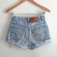 Vtg Levi's Light Wash High Waisted Cut Off Denim Shorts Boyfriend Jean 26""