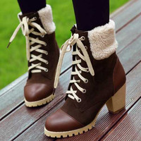 Fashion Roman chunky heels platform vintage lace up winter fur shoes ankle warm snow boots for women 2015 big size 32-43