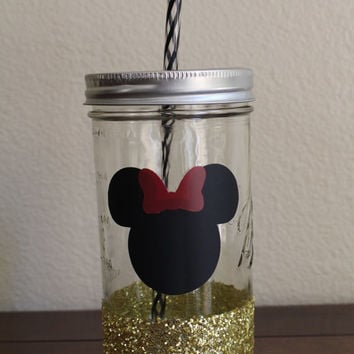 Minnie Mouse Mason Jar Tumbler, Glitter Dipped Tumbler, Disney Tumbler, Personalized Cup