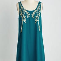 Mid-length Sleeveless Shift Everything Exquisite Dress in Teal